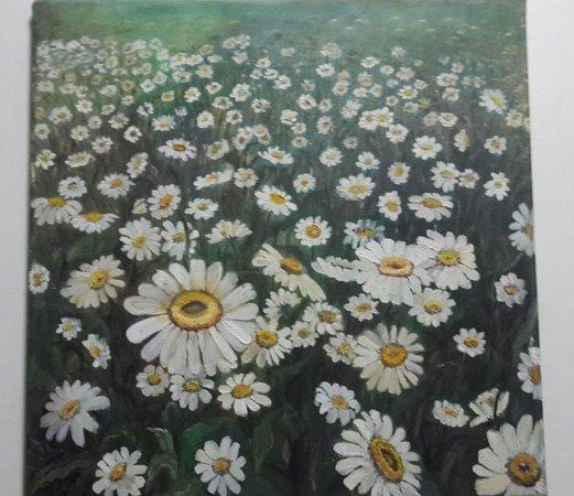 ציור שמן פרחים אדומים