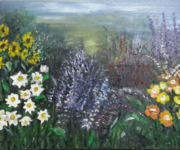 ציור שדה של פרחים
