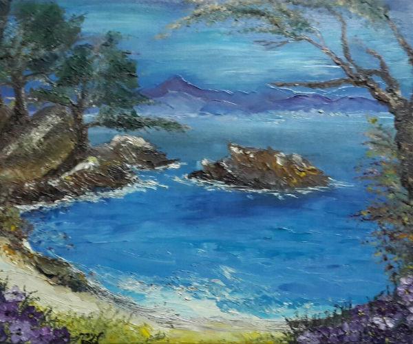 ציור נוף איים בים