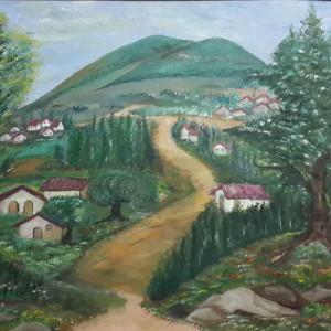 ציור כפר עם נוף