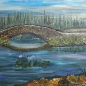 ציור נוף עם גשר ופרחי מים