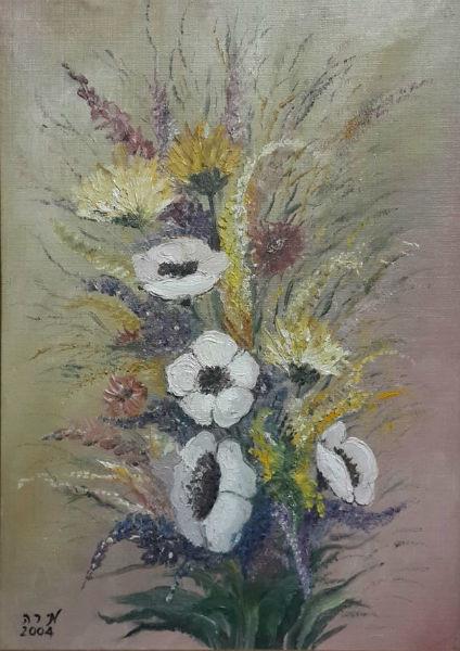 ציור שמן פרחים במגוון צבעים