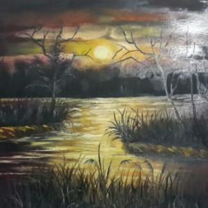 ציור שקיעה במים