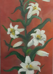 ציור פרחים לבנים
