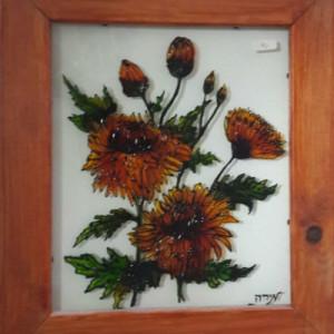 ציור על זכוכית חרציות