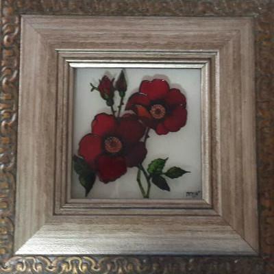 ציור זכוכית ורד