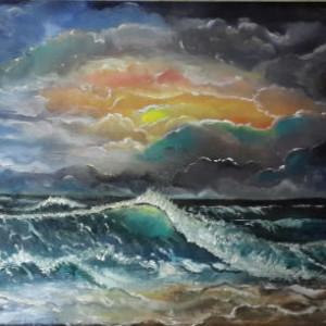 ציור גלים בים