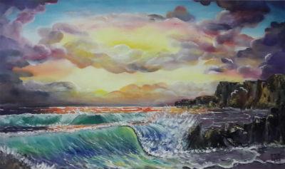 ציור ים סוער בשקיעה