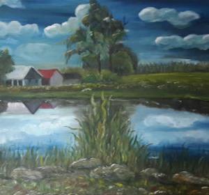 ציור אגם בכפר