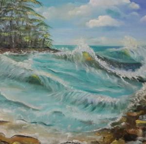 ציור ים סוער מקו החוף