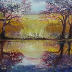 ציור נהר צבעוני