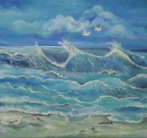 ציור שמן גלים בים