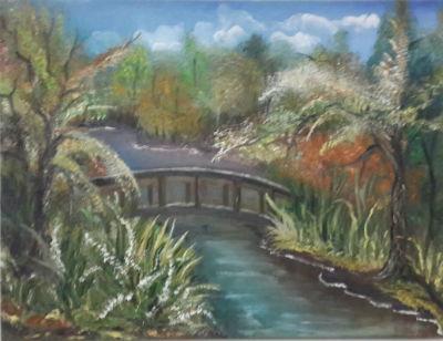 ציור גשר על הנהר