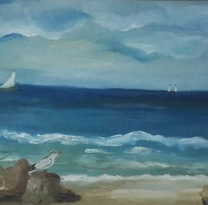 ציור סירה בים