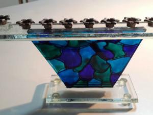 חנוכיה עבודת יד זכוכית